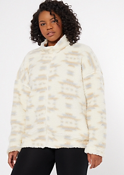 Plus Cream Fair Isle Print Sherpa Sweatshirt