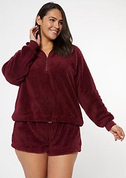 Plus Burgundy Sherpa Half Zip Pullover Sweatshirt