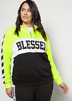 Plus Neon Yellow Blessed Colorblock Striped Pullover