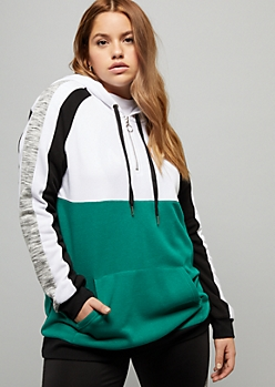 Plus Green Space Dye Striped Half Zip Hoodie
