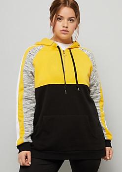 Plus Yellow Space Dye Striped Half Zip Hoodie