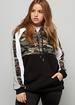 Plus Camo Print Space Dye Striped Half Zip Hoodie