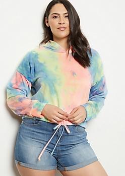 Plus Rainbow Tie Dye Drawstring Hem Hoodie