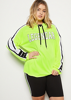 Plus Neon Yellow Legendary Striped Graphic Hoodie