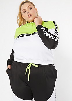 Plus Green Colorblock Vibes Side Striped Pullover