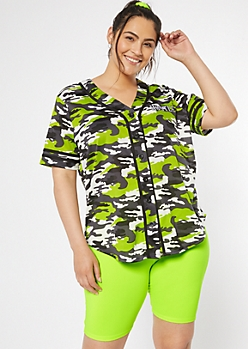 Plus Neon Green Camo Print Hustle Graphic Jersey Tee
