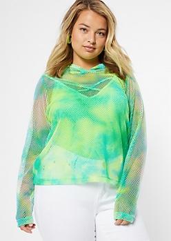 Plus Neon Aqua Tie Dye Mesh Hoodie