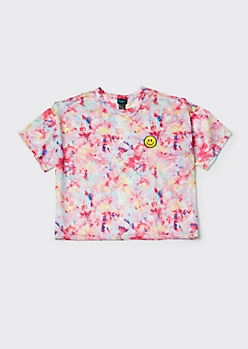 Plus Pink Tie Dye Smiley Embroidered Jersey Crop Top