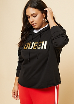 Plus Black Gold Foil Queen Raw Hem Hoodie