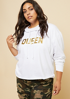 Plus White Gold Foil Queen Raw Hem Hoodie