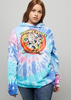 Plus Blue Tie Dye Looney Tunes Graphic Hoodie