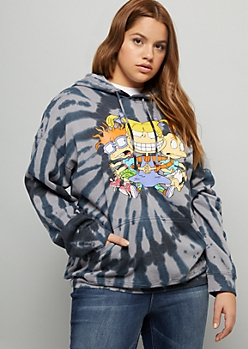 Plus Black Tie Dye Rugrats Trio Graphic Hoodie