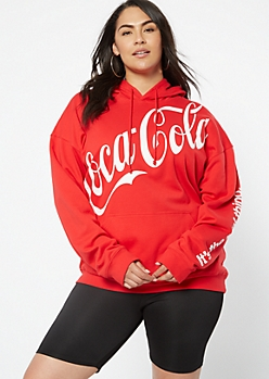 Plus Red Slanted Coke Graphic Hoodie
