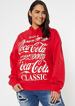 Plus Red Coca Cola Graphic Hoodie