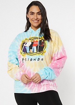 Plus Tie Dye Friends Graphic Hoodie