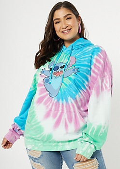 Plus Turquoise Tie Dye Stitch Graphic Hoodie