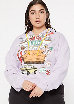 Plus Lavender Friends Central Perk Cropped Graphic Hoodie