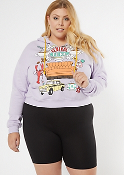 Plus Lavender Central Perk Cropped Hoodie