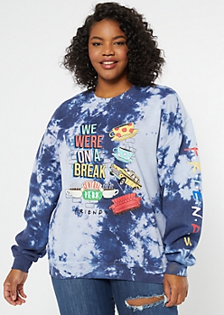 Plus Blue Tie Dye On A Break Graphic Sweatshirt