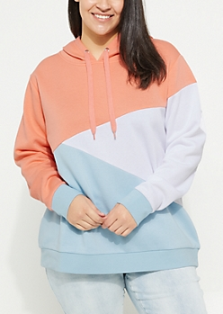 Plus Coral Asymmetrical Colorblock Hoodie