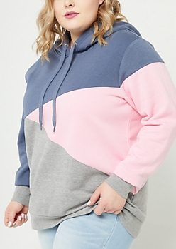 Plus Pink Asymmetrical Colorblock Hoodie