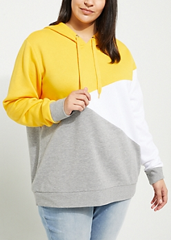 Plus Yellow Asymmetrical Color Block Hoodie
