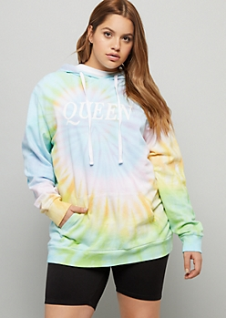 Plus Pastel Rainbow Tie Dye Queen Graphic Hoodie
