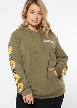 Plus Olive Hustle Checkered Sunflower Print Hoodie