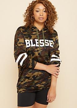 Plus Camo Print Blessed Athletic Stripe Hoodie