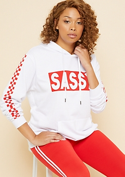 Plus White Sassy Box Checkered Hoodie