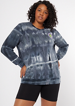 Plus Gray Tie Dye La Soleil Graphic Sweatshirt