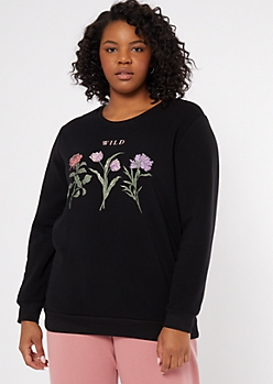 Plus Black Wild Flower Graphic Sweatshirt