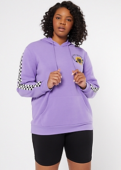 Plus Purple Keep The Mood Graphic Hoodie