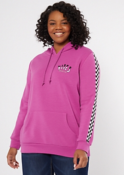 Plus Magenta Keep The Mood Graphic Hoodie