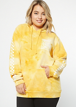Plus Mustard Tie Dye Good Vibes Only Graphic Hoodie