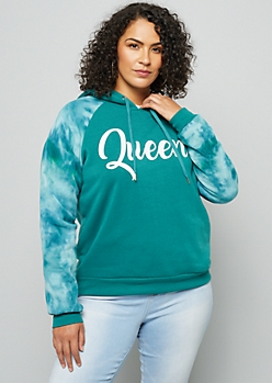 Plus Teal Tie Dye Queen Fleece Hoodie