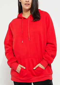 Plus Red Warrior Not Worrier Fleece Hoodie