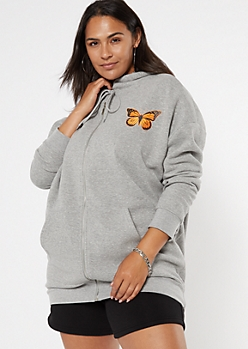 Plus Gray Anti Social Butterfly Graphic Zip Up Hoodie