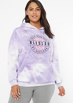 Plus Purple Tie Dye Blessed Fleece Hoodie