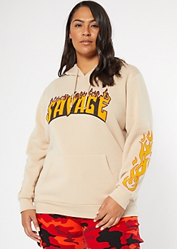 Plus Sand Flaming Savage Graphic Hoodie