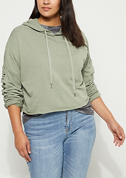 Plus Light Olive Slashed Crop Hoodie