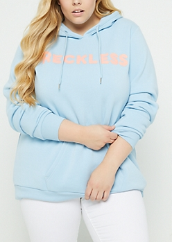 Plus Blue Reckless Long Length Hoodie