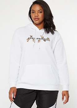 Plus White Born Annoyed Cherub Graphic Hoodie