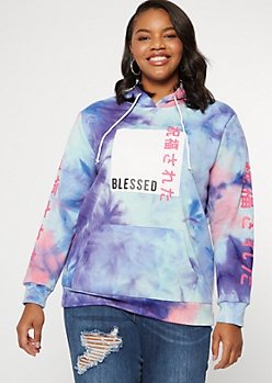 Plus Pastel Tie Dye Blessed Kanji Graphic Hoodie