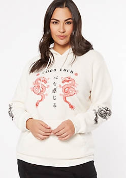 Plus Ivory Good Luck Kanji Graphic Hoodie