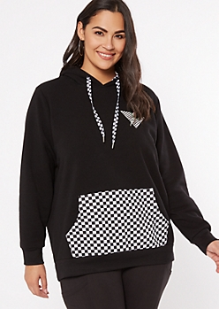 Plus Black Checkered Print Influencer Graphic Hoodie