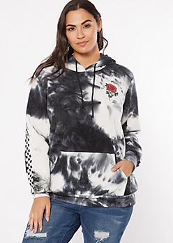 Plus Gray Tie Dye Good Vibes Skeleton Rose Graphic Hoodie