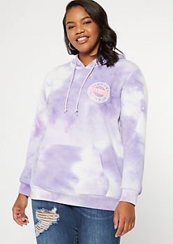 Plus Lavender Tie Dye Savage Graphic Hoodie