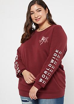 Plus Burgundy Kanji Rose Graphic Sweatshirt