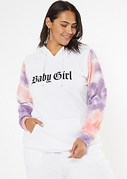 Plus Pink Tie Dye Colorblock Baby Girl Hoodie